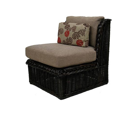Classic armless lounge chair indoor furniture the wicker works