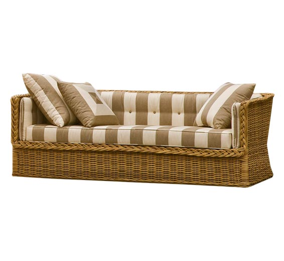 Classic day bed sofa outdoor furniture the wicker works for Wicker futon sofa bed