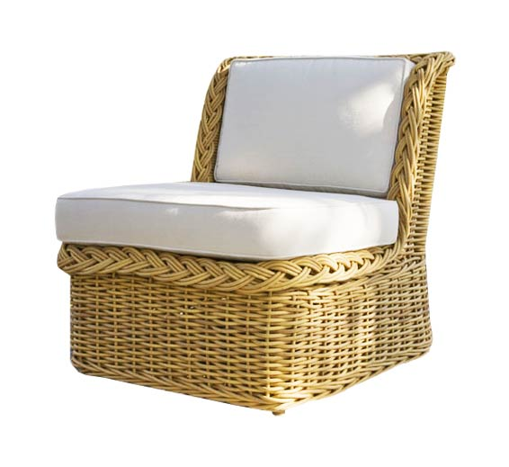 Classic Armless Lounge Chair Wicker Material Outdoor